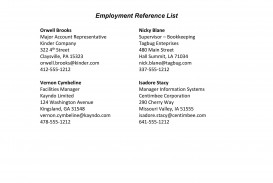 008 Stirring List Of Professional Reference Sample High Resolution  Template Employment Format Job Example