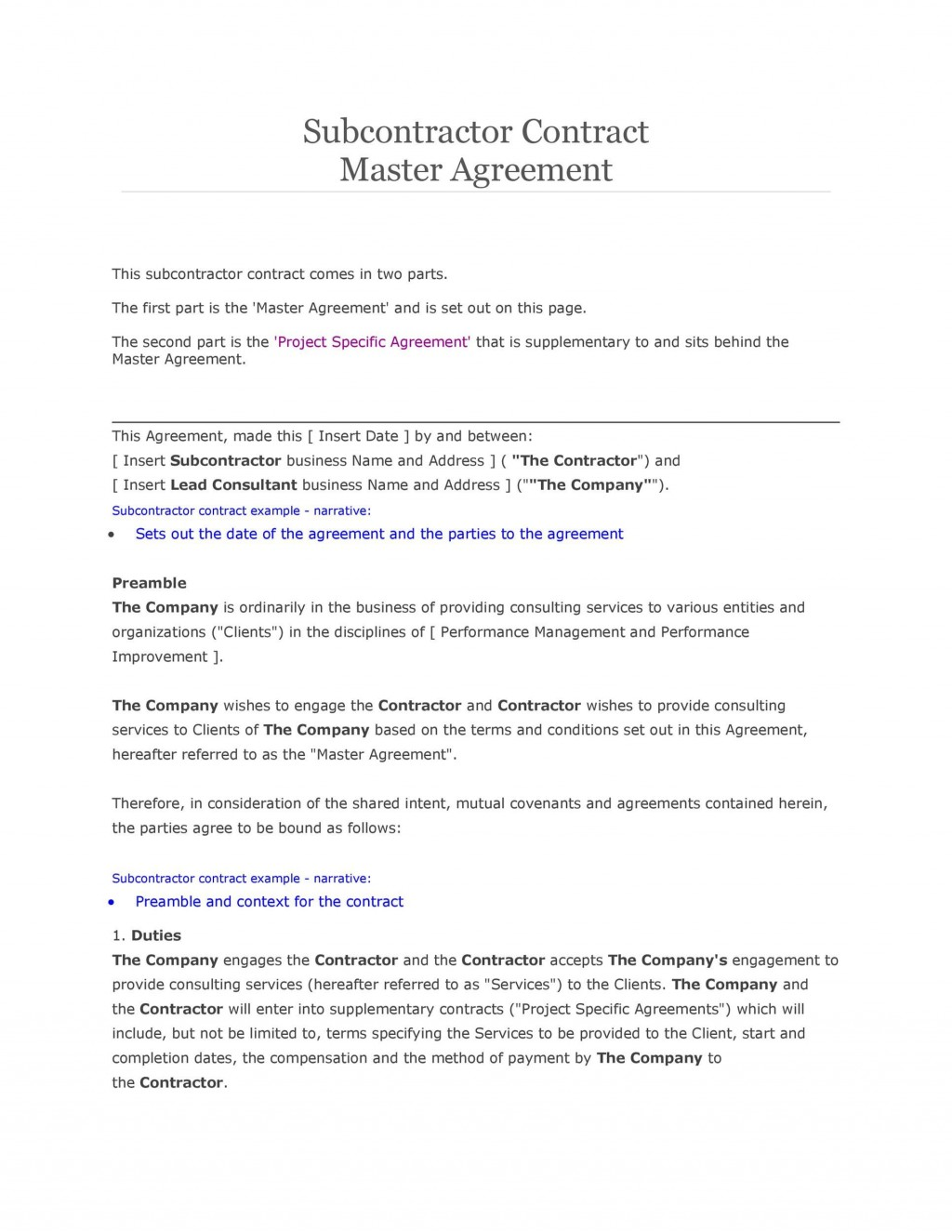 008 Stirring Subcontractor Agreement Template Free Concept  Construction WordLarge