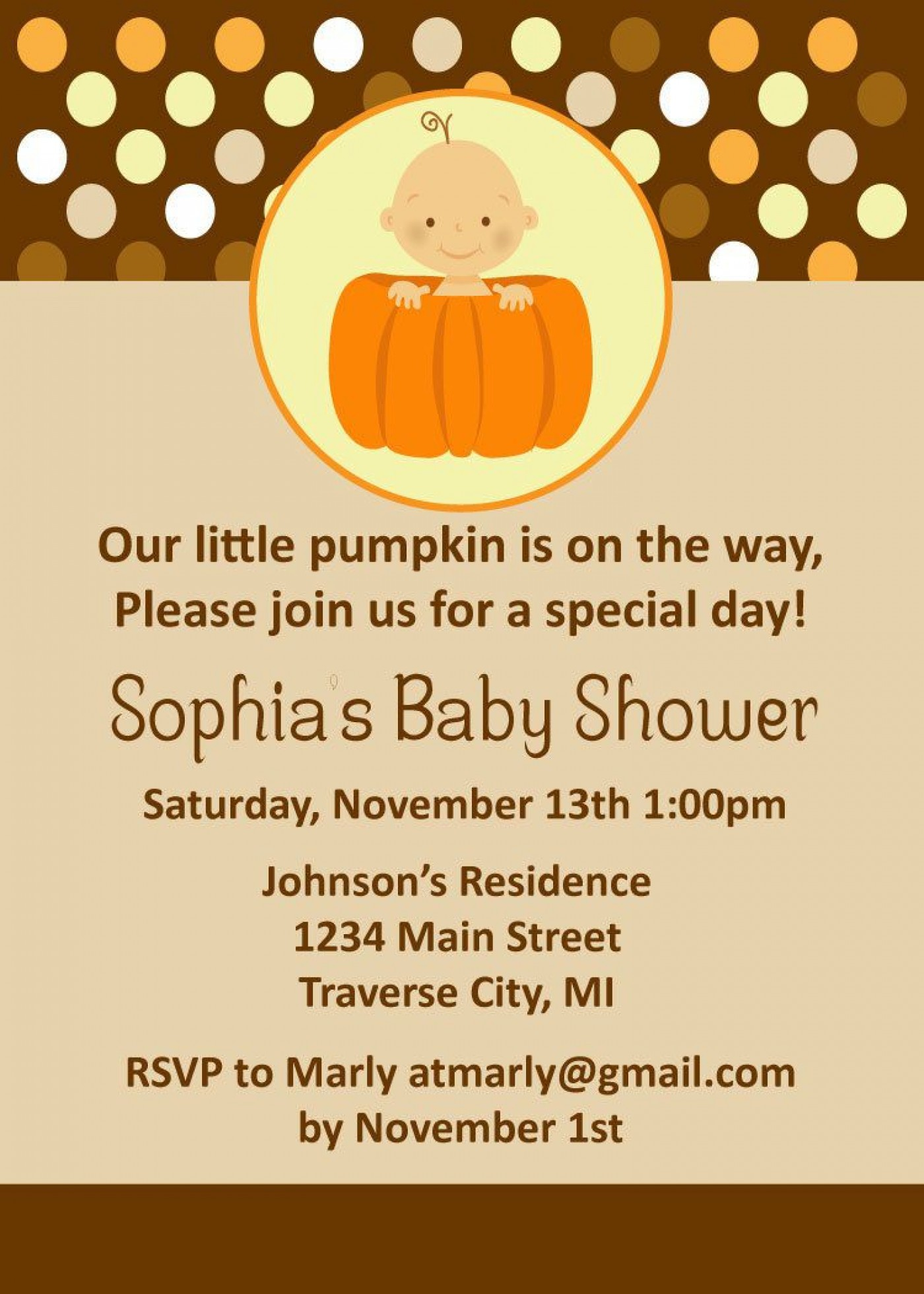 008 Striking Baby Shower Invitation Girl Pumpkin Image  Little1400