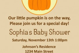 008 Striking Baby Shower Invitation Girl Pumpkin Image  Pink Little