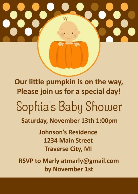 008 Striking Baby Shower Invitation Girl Pumpkin Image  Pink Little480