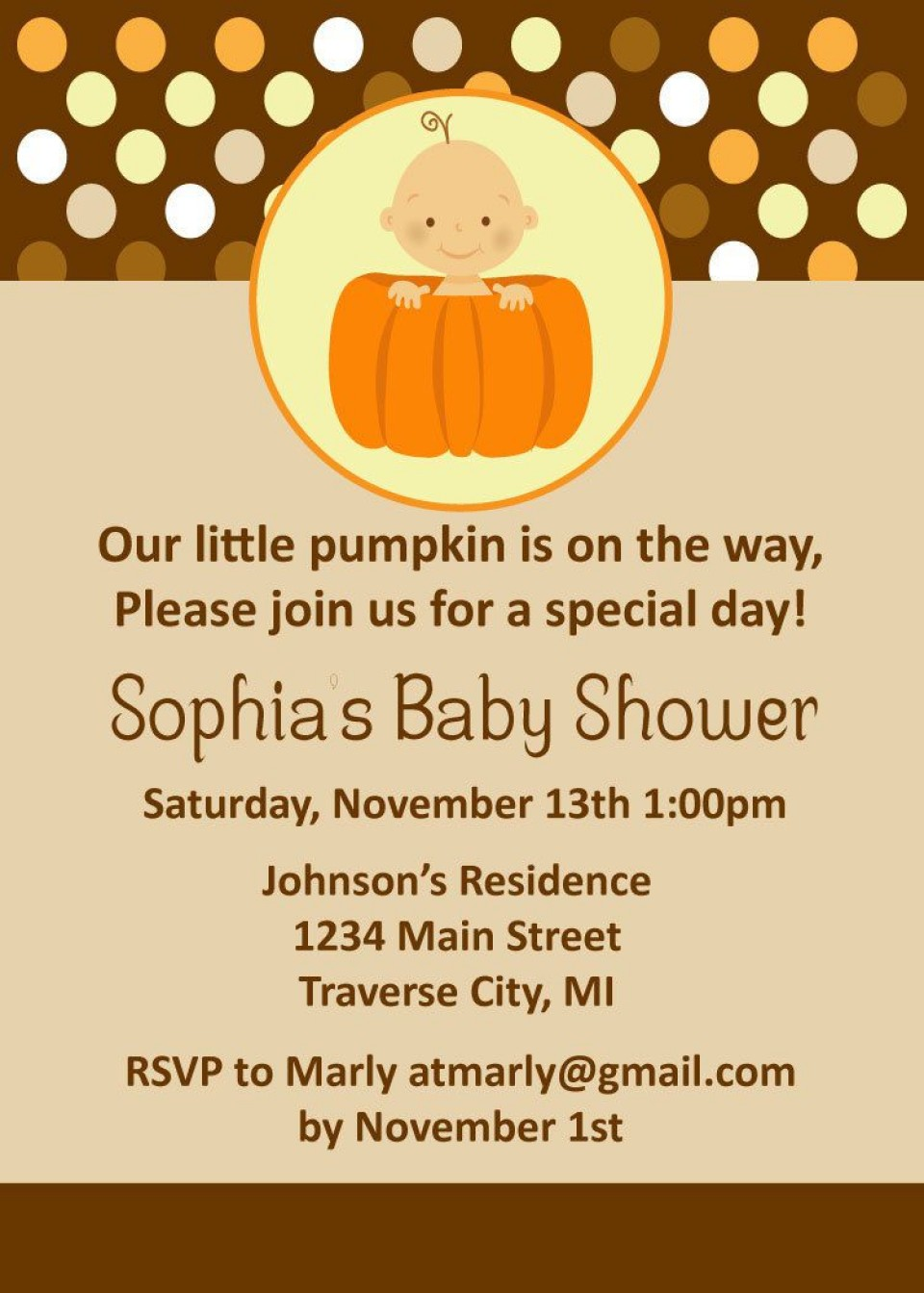 008 Striking Baby Shower Invitation Girl Pumpkin Image  Little960