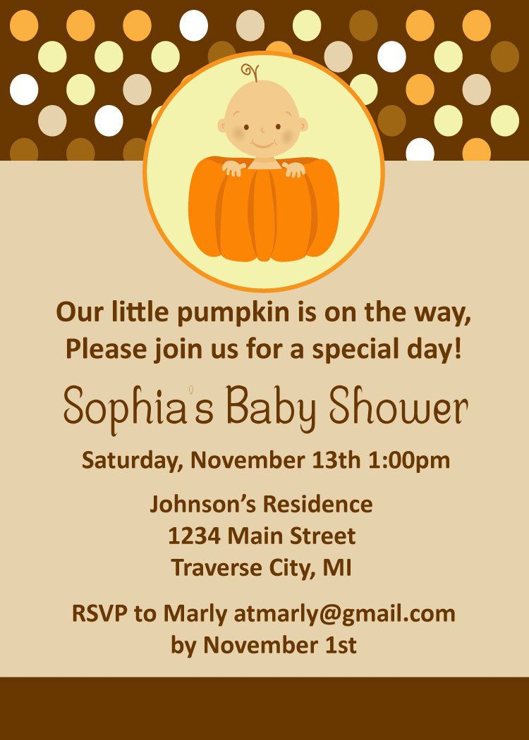 008 Striking Baby Shower Invitation Girl Pumpkin Image  LittleFull