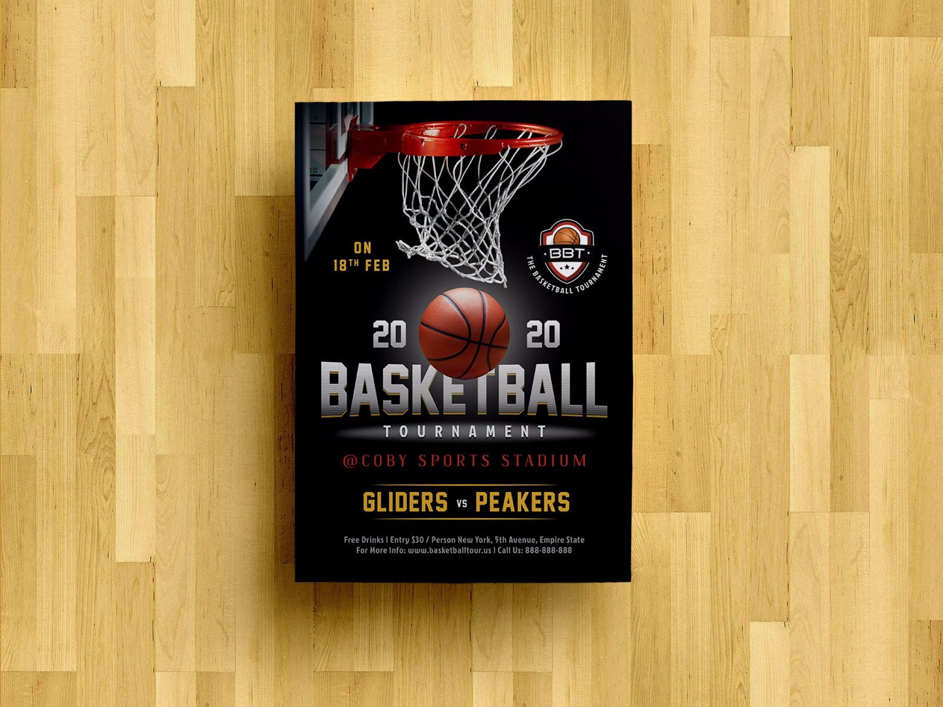 008 Striking Basketball Tournament Flyer Template Concept  3 On Free1920