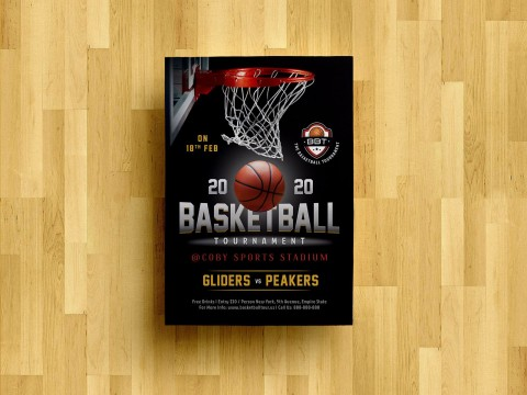 008 Striking Basketball Tournament Flyer Template Concept  3 On Free480