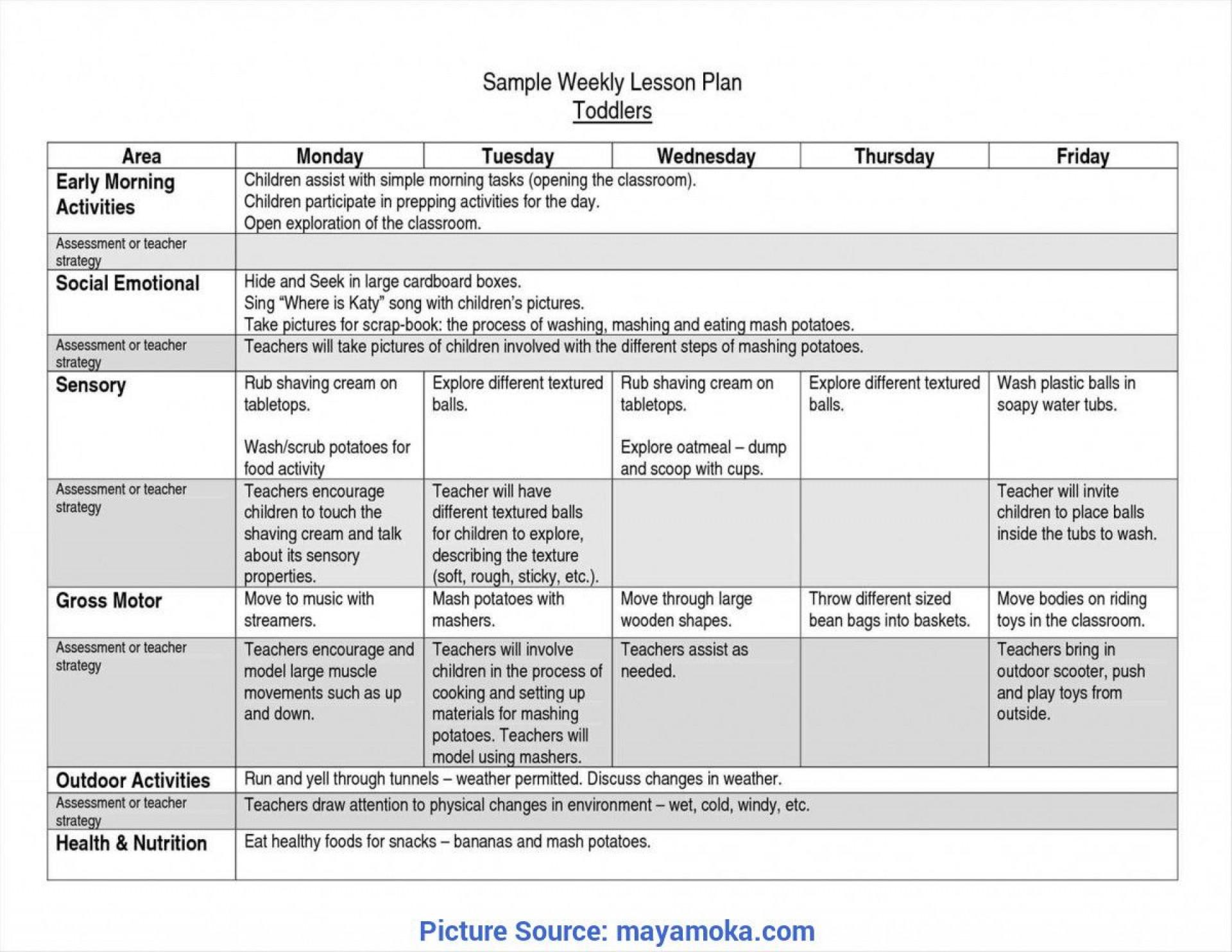 008 Striking Lesson Plan Template For Preschool Highest Quality  Format Teacher Free Printable1920