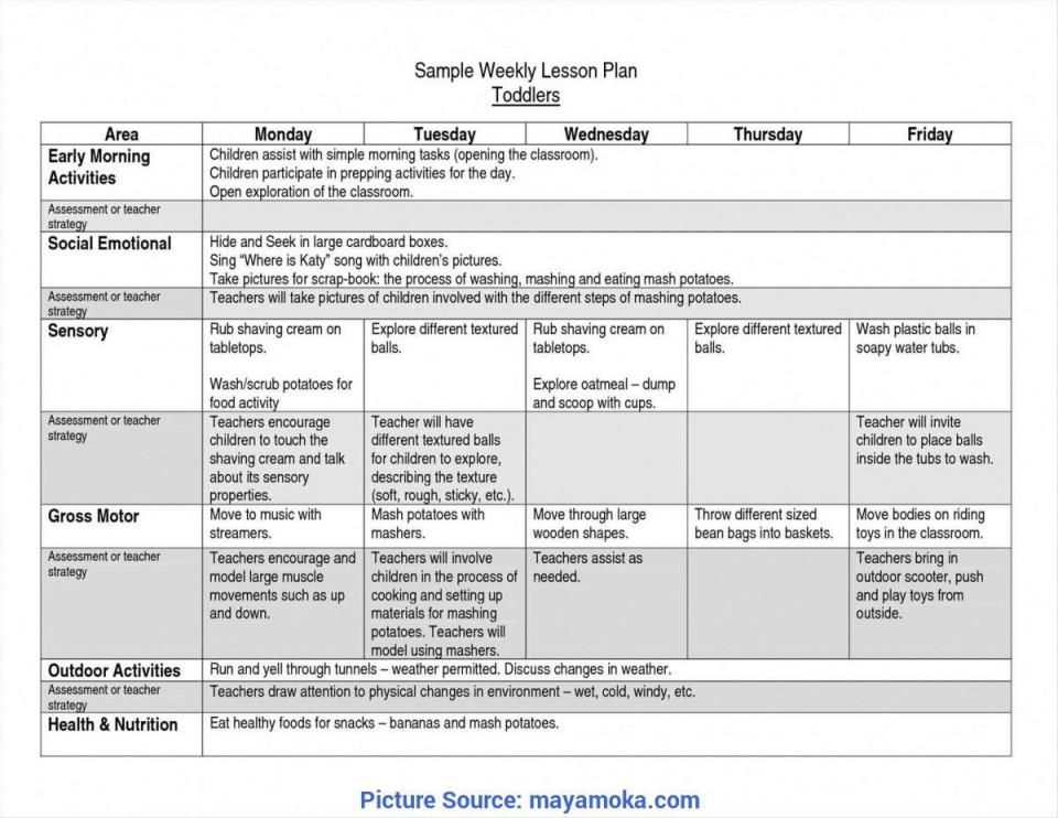 008 Striking Lesson Plan Template For Preschool Highest Quality  Format Teacher Free Printable960