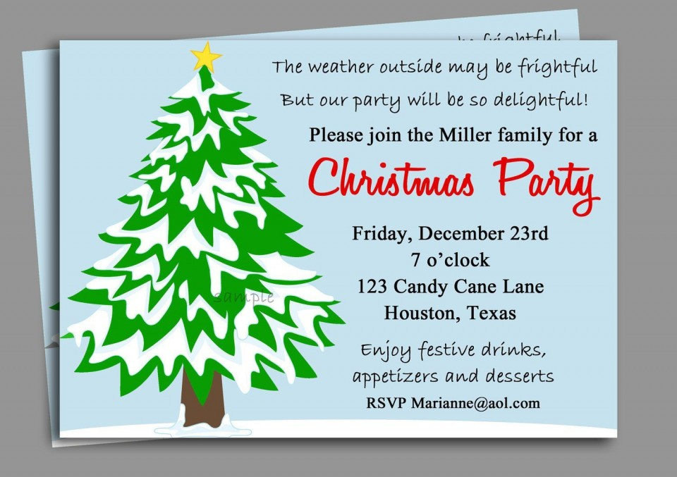 008 Striking Office Christma Party Invitation Wording Sample Highest Quality  Holiday Example960