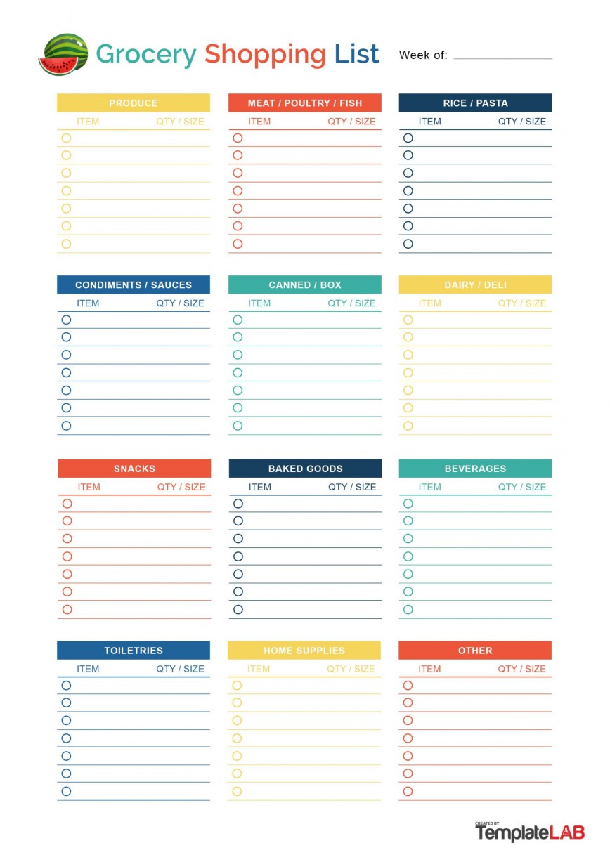 008 Striking Printable Grocery List Template Idea  Word Pdf Free
