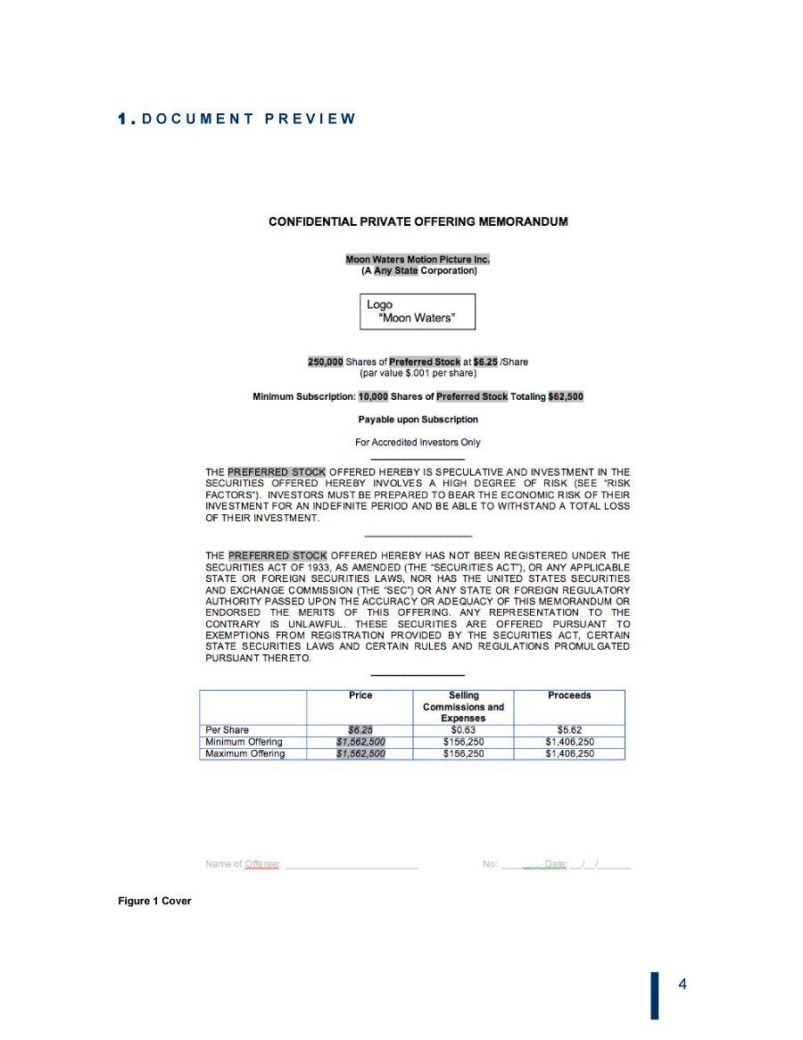 008 Striking Private Placement Memorandum Template Real Estate Design Full