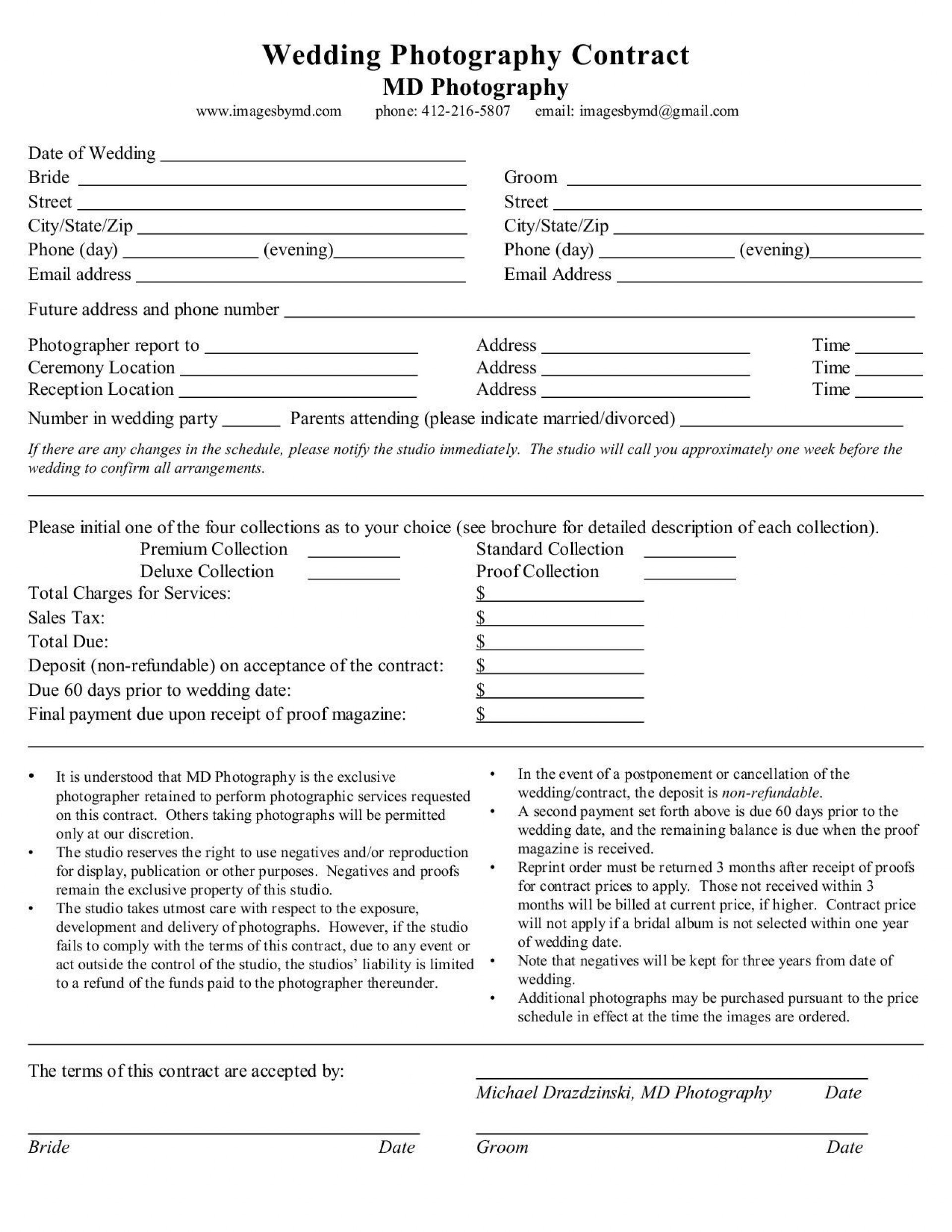 008 Striking Wedding Photography Contract Template Canada High Def 1920