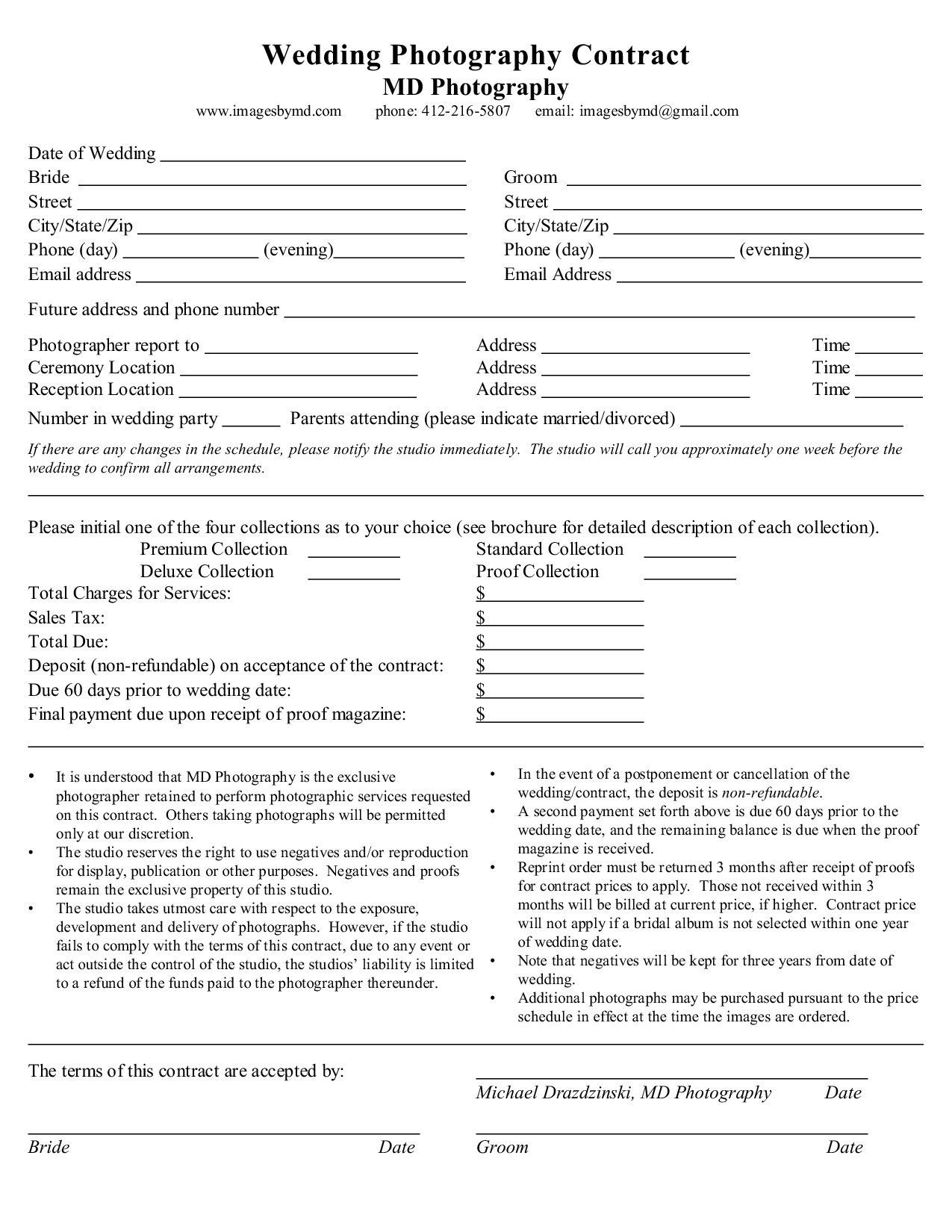 008 Striking Wedding Photography Contract Template Canada High Def Full