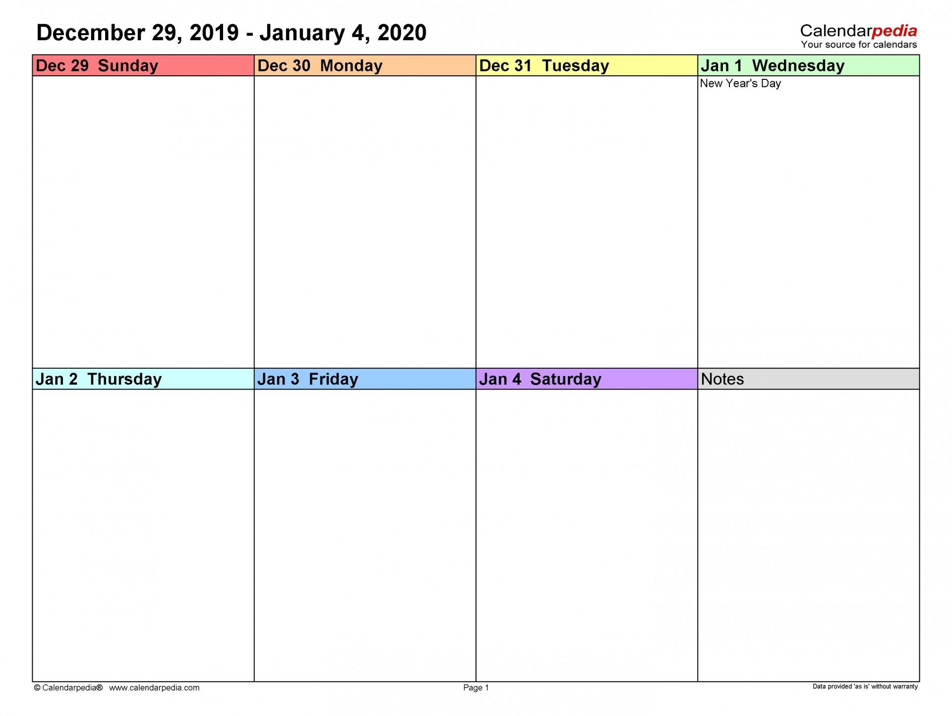 008 Striking Weekly Calendar Template 2020 Highest Clarity  Printable Blank Free1920