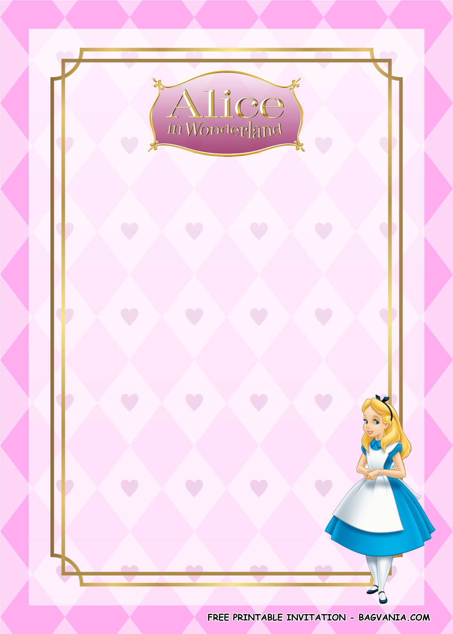 008 Stunning Alice In Wonderland Invitation Template Example  Templates Birthday Free Wedding Wording DownloadFull