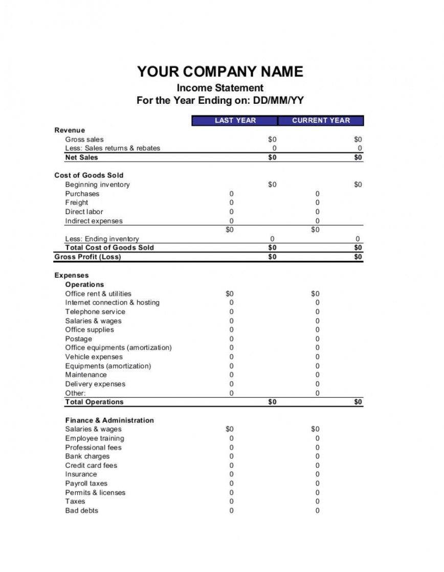 008 Stunning Blank Income Statement Template High Definition  Tax Form Example