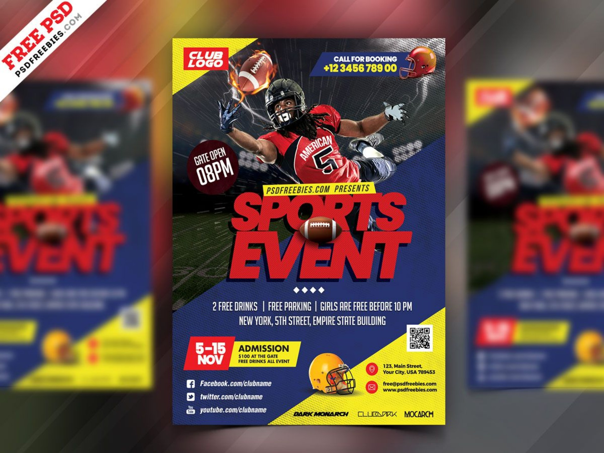 008 Stunning Football Flyer Template Free High Resolution  Download Flag Party1920