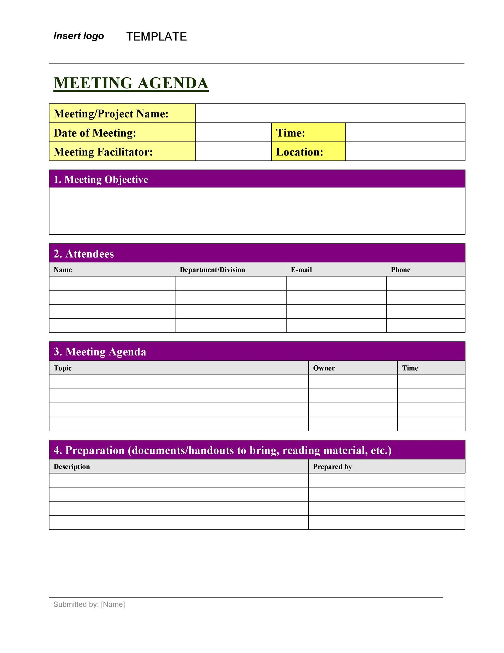 008 Stunning Formal Meeting Agenda Template Excel Highest Quality Full