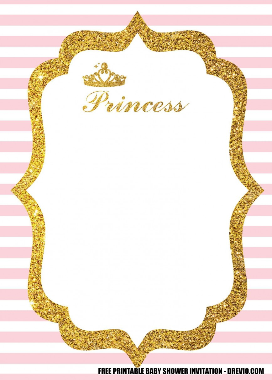 008 Stunning Free Princes Baby Shower Invitation Template For Word Image