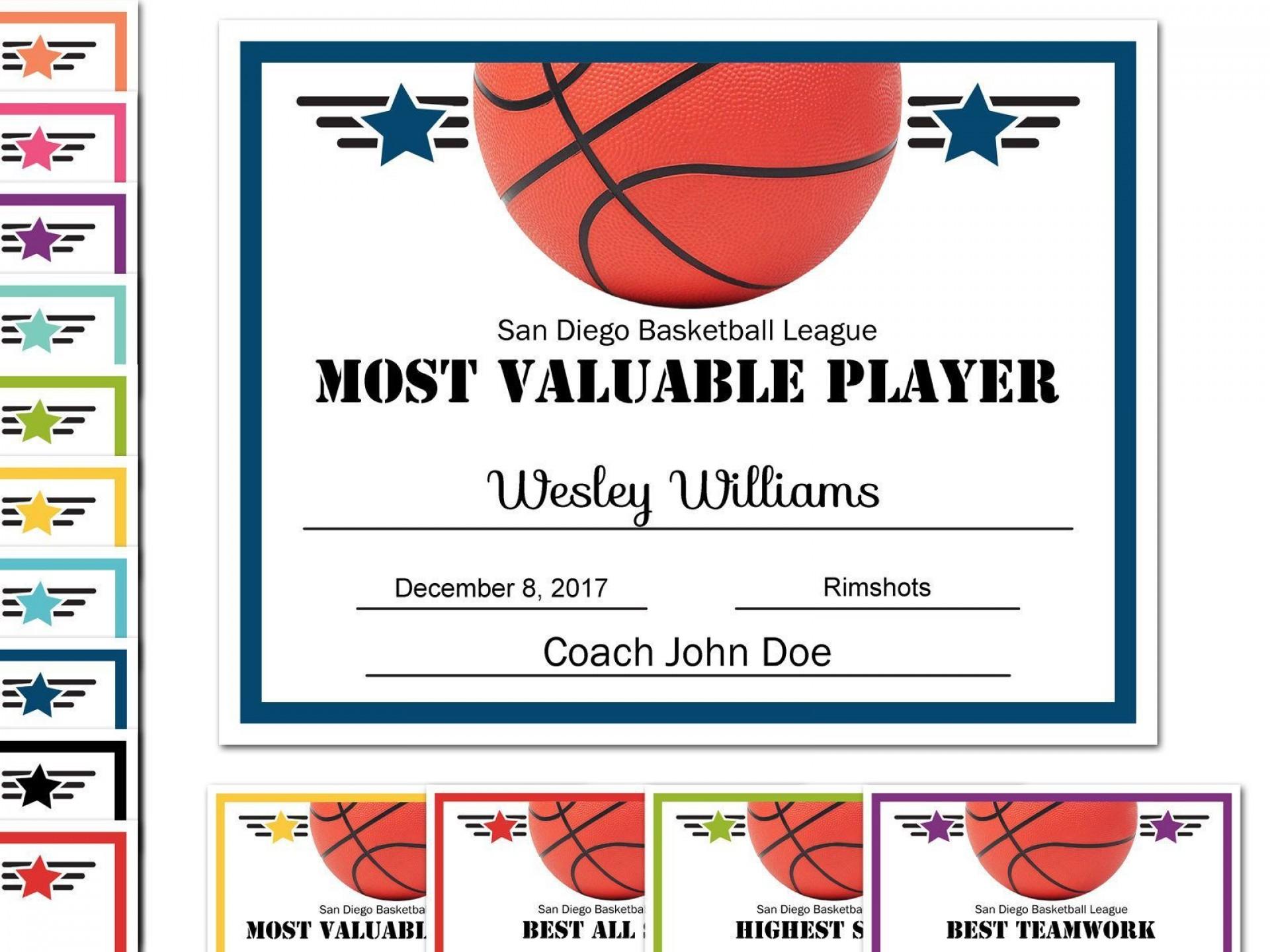 008 Stunning Free Printable Basketball Certificate Template Sample  Templates1920