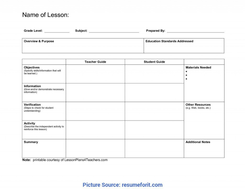 008 Stunning Lesson Plan Format Word Doc Idea  Outline TemplateLarge