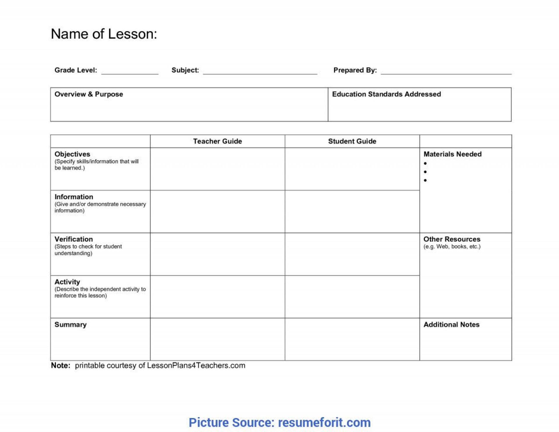 008 Stunning Lesson Plan Format Word Doc Idea  Outline Template1920
