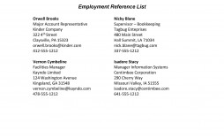008 Stunning List Of Work Reference Template Picture  Employment Format Professional