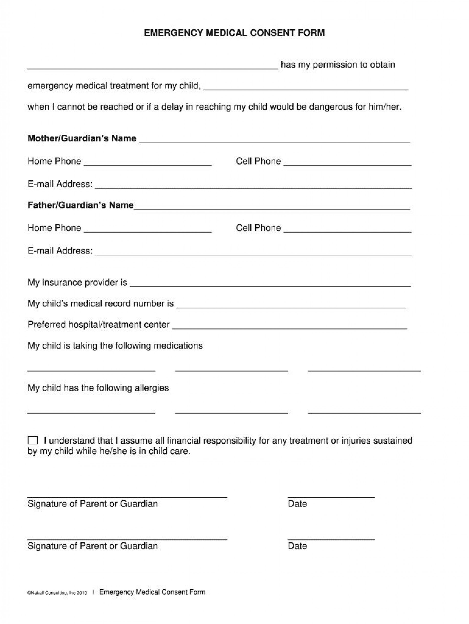 008 Stunning Medical Consent Form Template Photo  Templates Free1920
