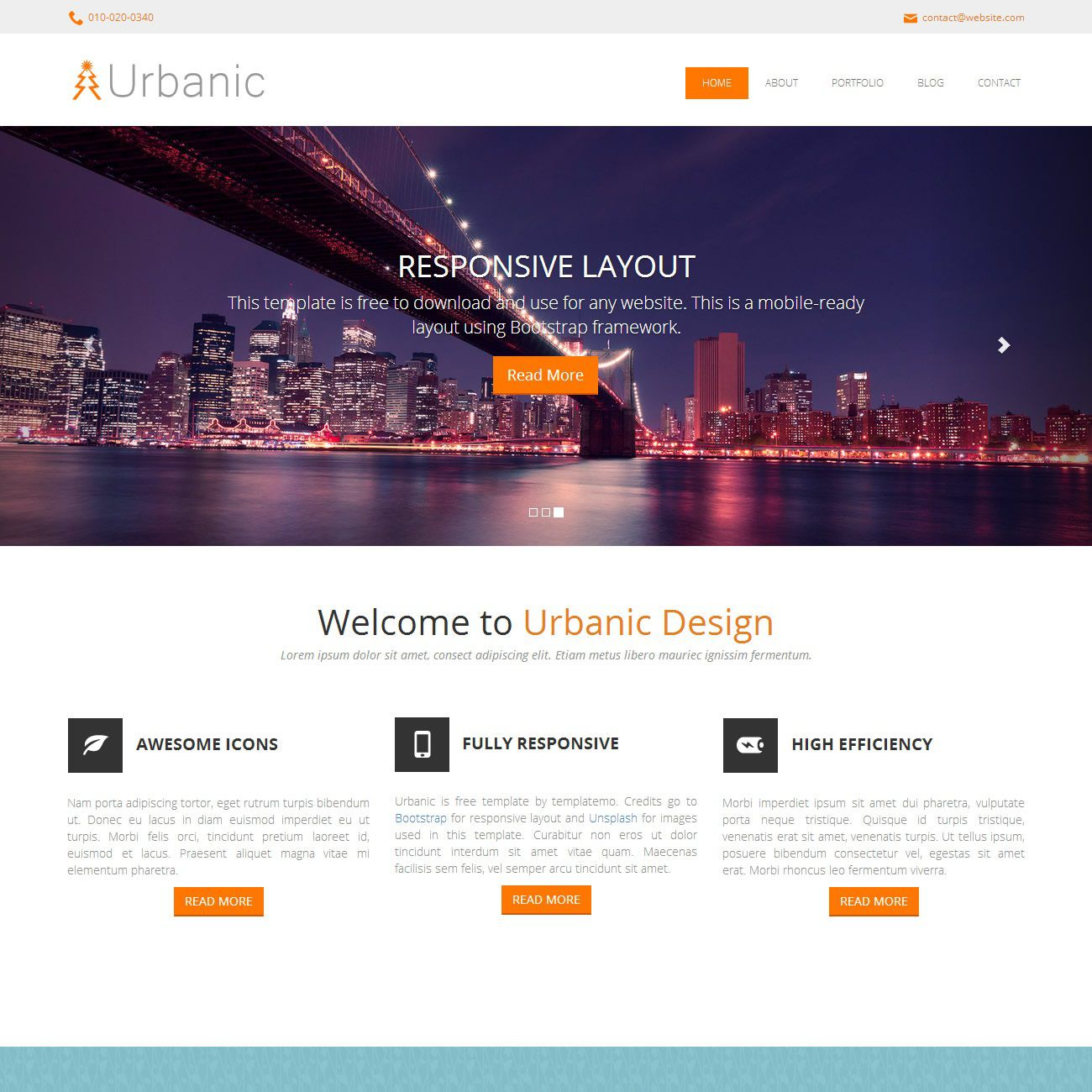 008 Stunning One Page Responsive Website Template Bootstrap Free Highest Clarity  DownloadFull