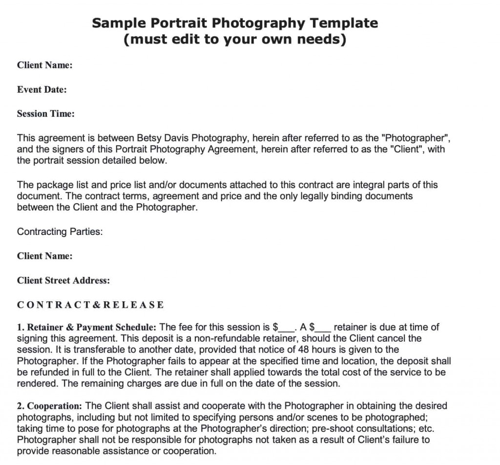 008 Stunning Portrait Photography Contract Template Highest Quality  Pdf AustraliaLarge
