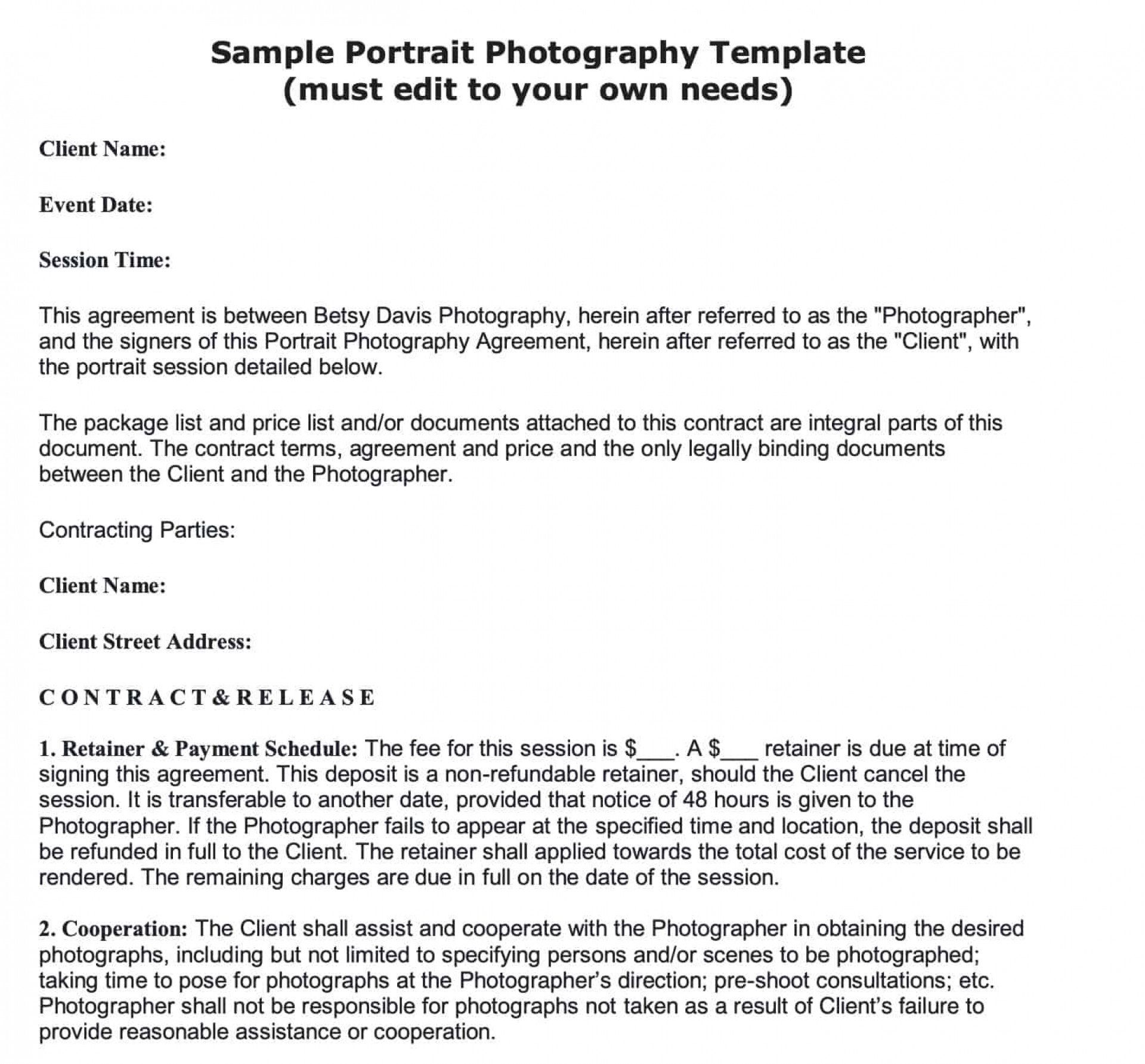 008 Stunning Portrait Photography Contract Template Highest Quality  Pdf Australia1920