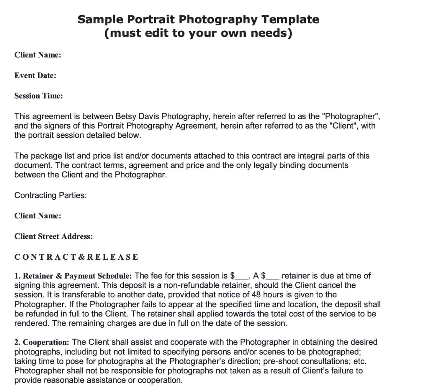 008 Stunning Portrait Photography Contract Template Highest Quality  Pdf AustraliaFull