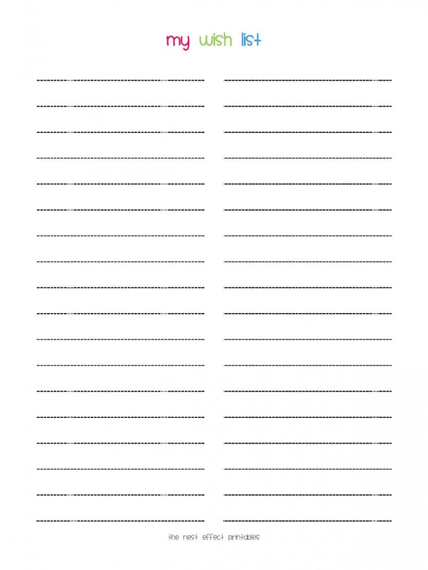 008 Stunning Printable Wish List Template Idea  Santa Free Secret868