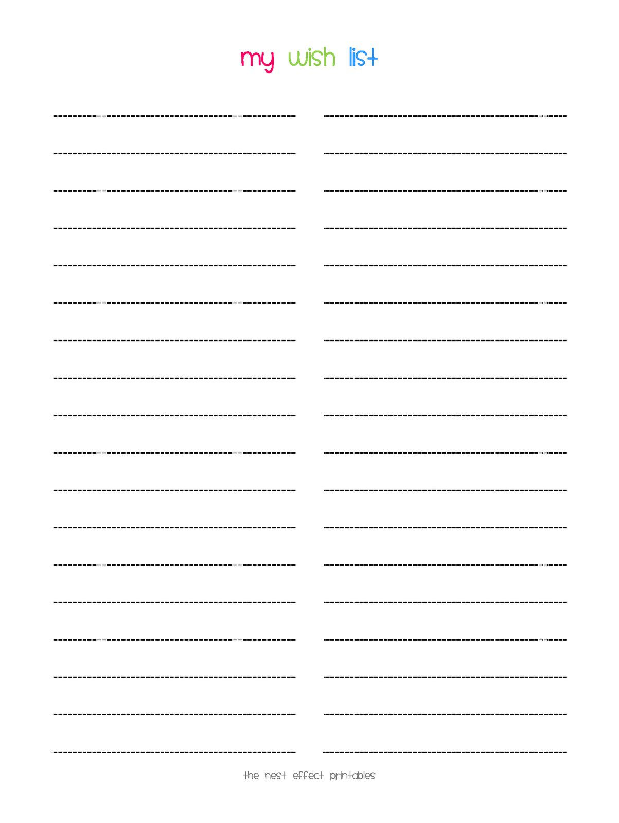 008 Stunning Printable Wish List Template Idea  Cute Christma Free HolidayFull