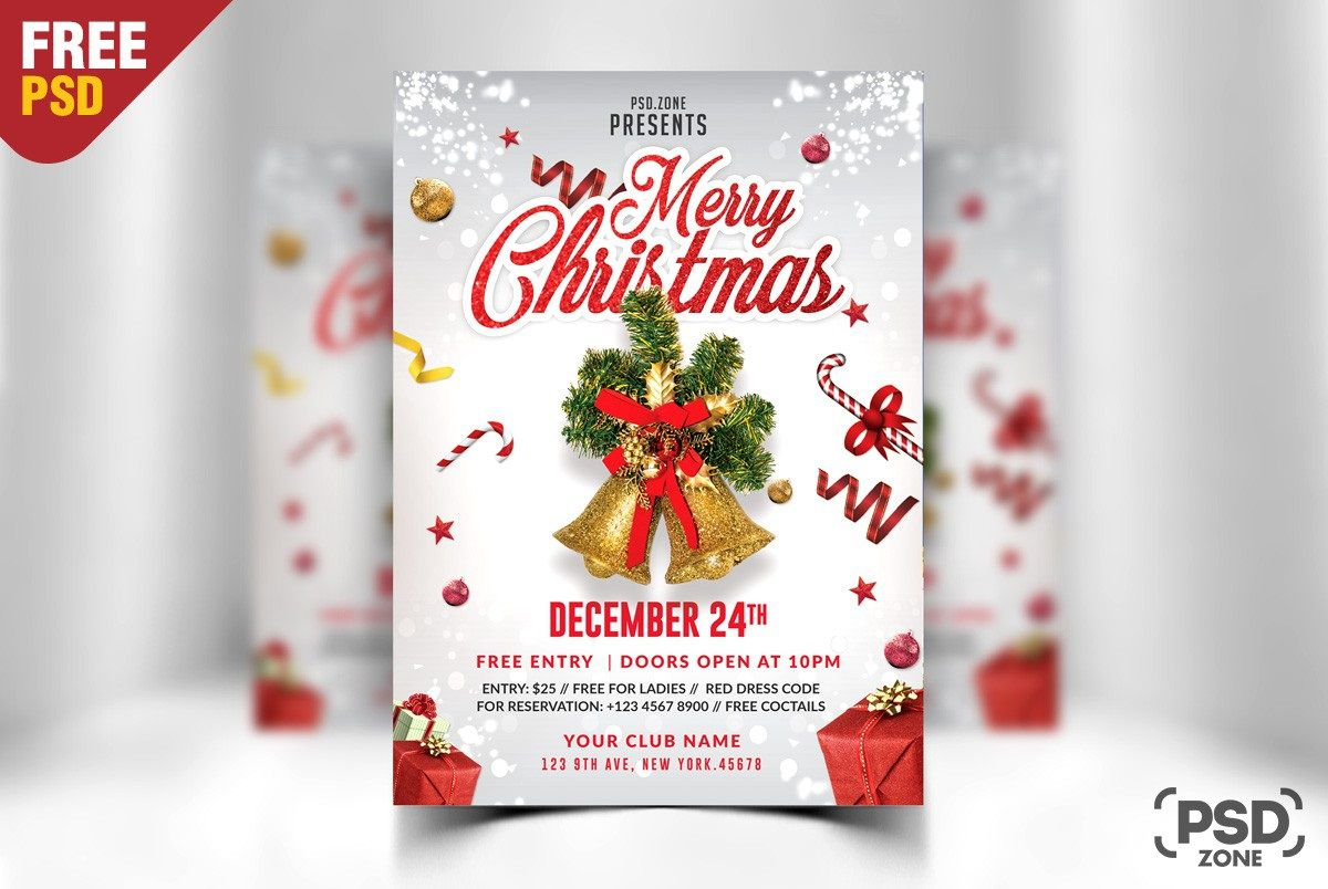 008 Stupendou Christma Flyer Template Free Example  Party Invitation Psd DownloadFull