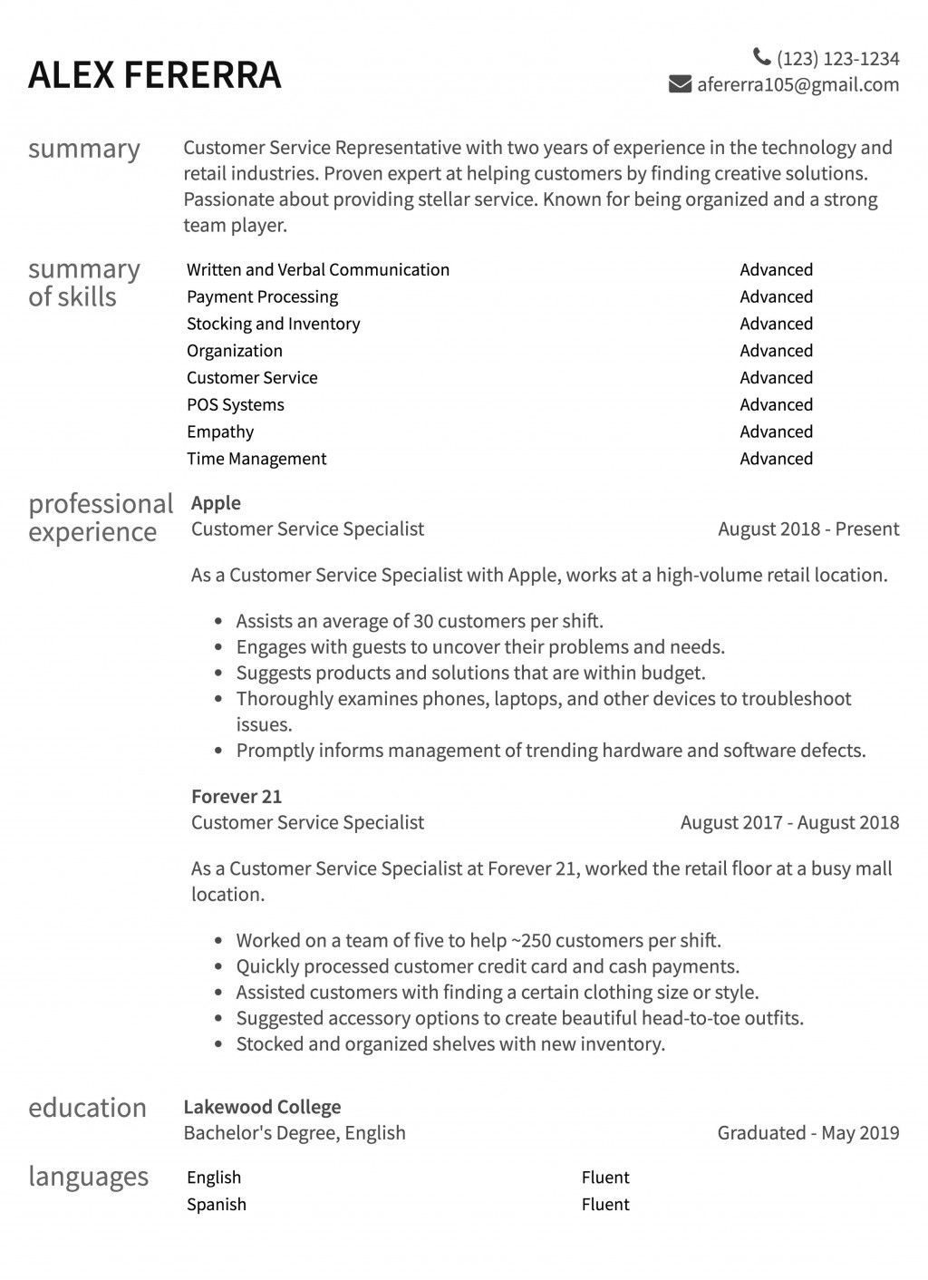 008 Surprising Customer Service Resume Template Highest Quality  CvLarge