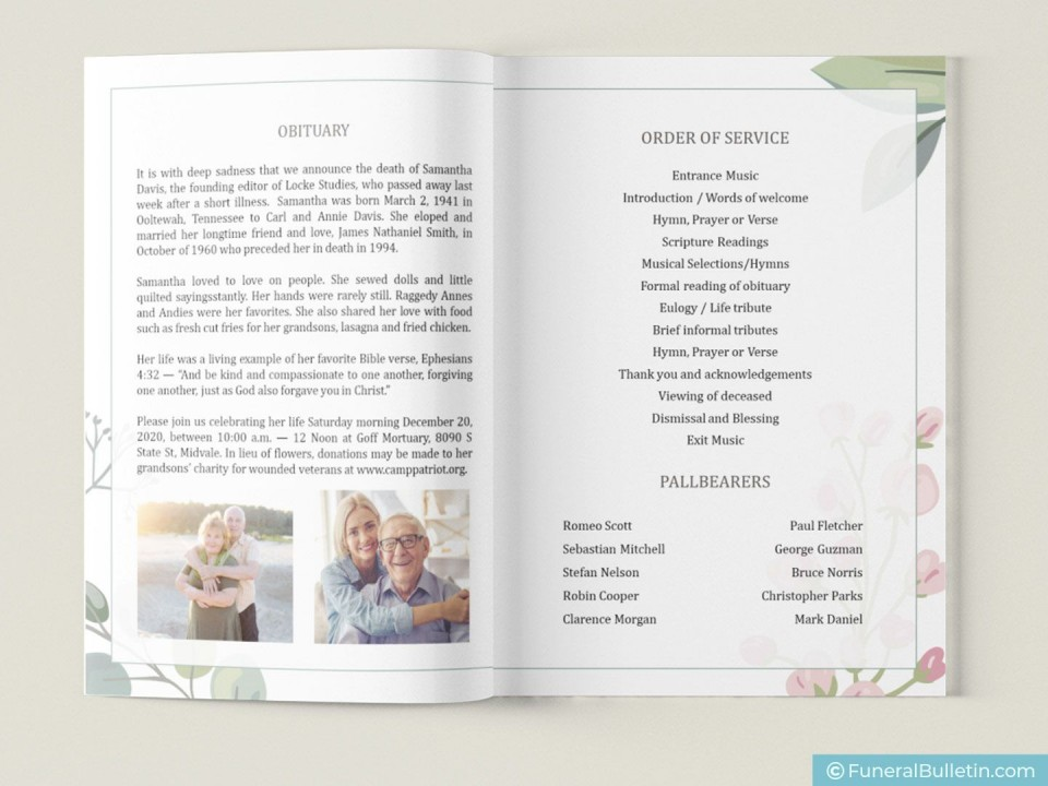 008 Surprising Free Celebration Of Life Brochure Template Highest Clarity  Flyer960