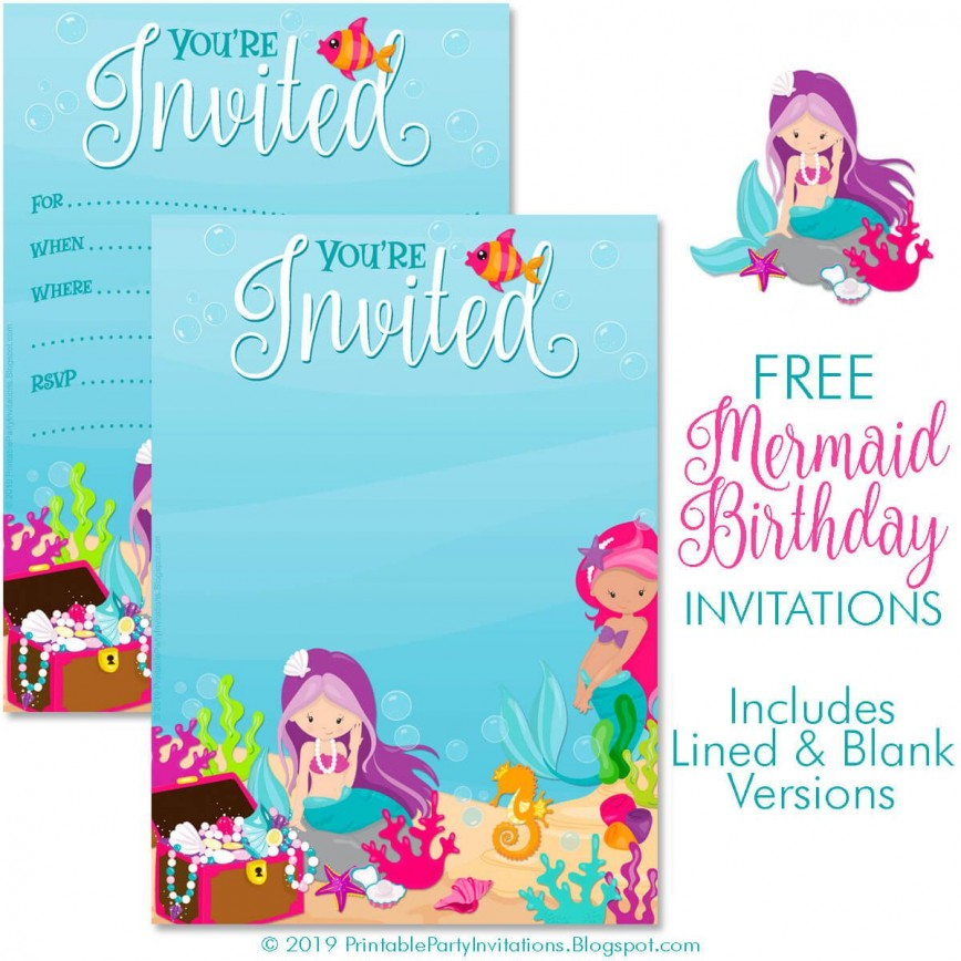 008 Surprising Free Mermaid Invitation Template Example  Baby Shower Blank Tail