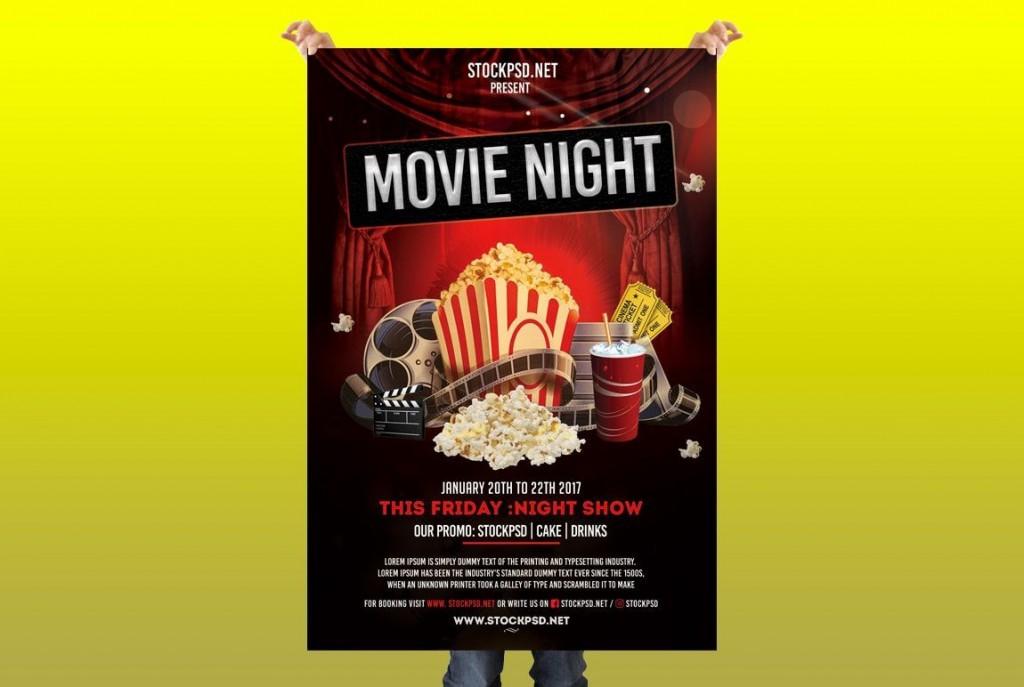008 Surprising Movie Night Flyer Template Image  Editable Psd FreeLarge