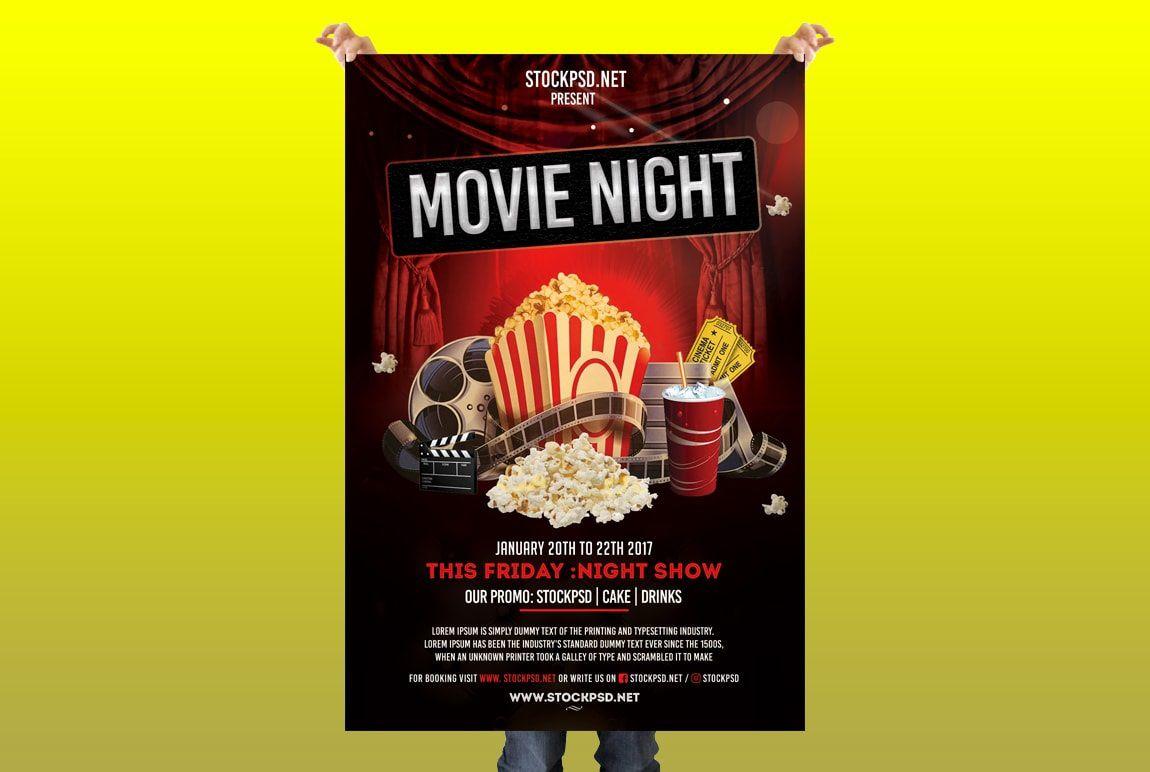 008 Surprising Movie Night Flyer Template Image  Editable Psd FreeFull