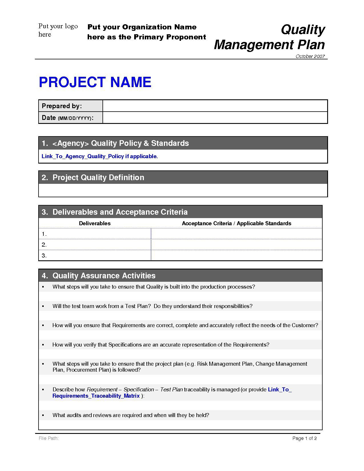 008 Surprising Project Quality Management Plan Template Pdf Concept  SampleFull