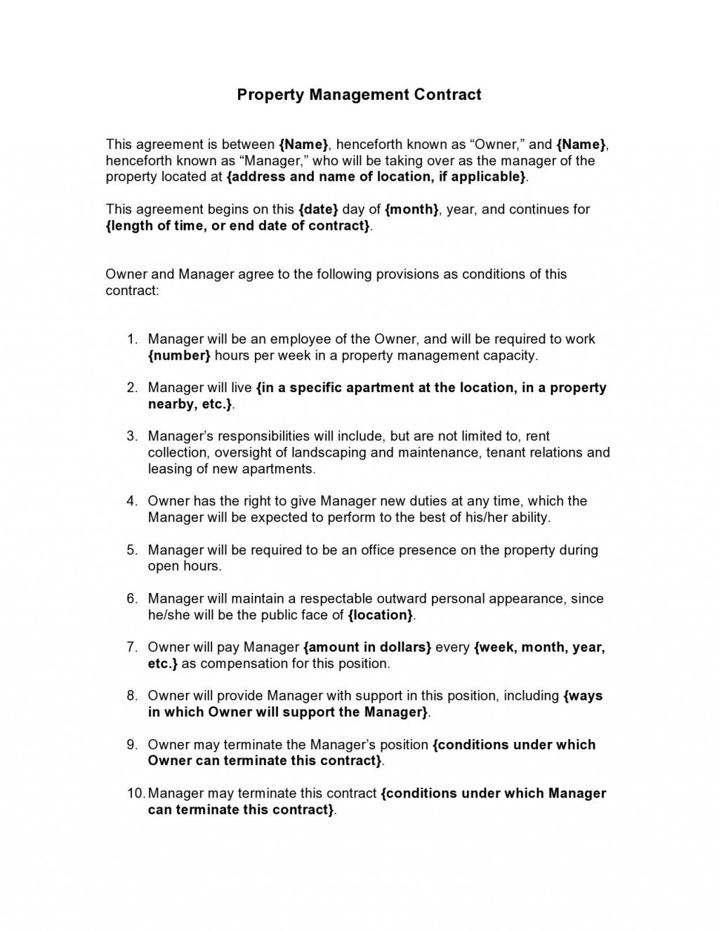 008 Surprising Property Management Agreement Template Ontario High Resolution  ContractLarge
