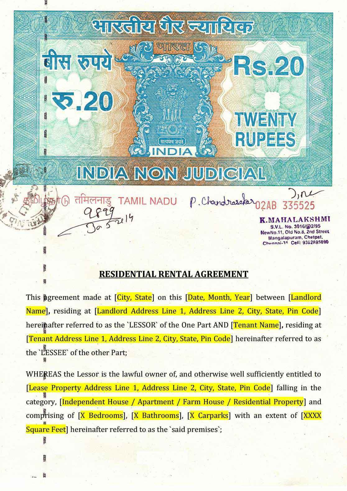 008 Surprising Room Rent Agreement Format In Hindi Pdf High Definition Full