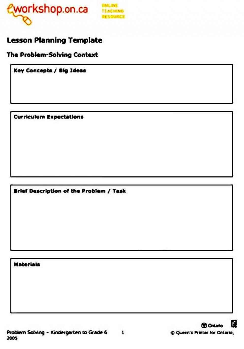 008 Surprising Simple Lesson Plan Template High Definition  Basic Format For Preschool Doc Kindergarten960