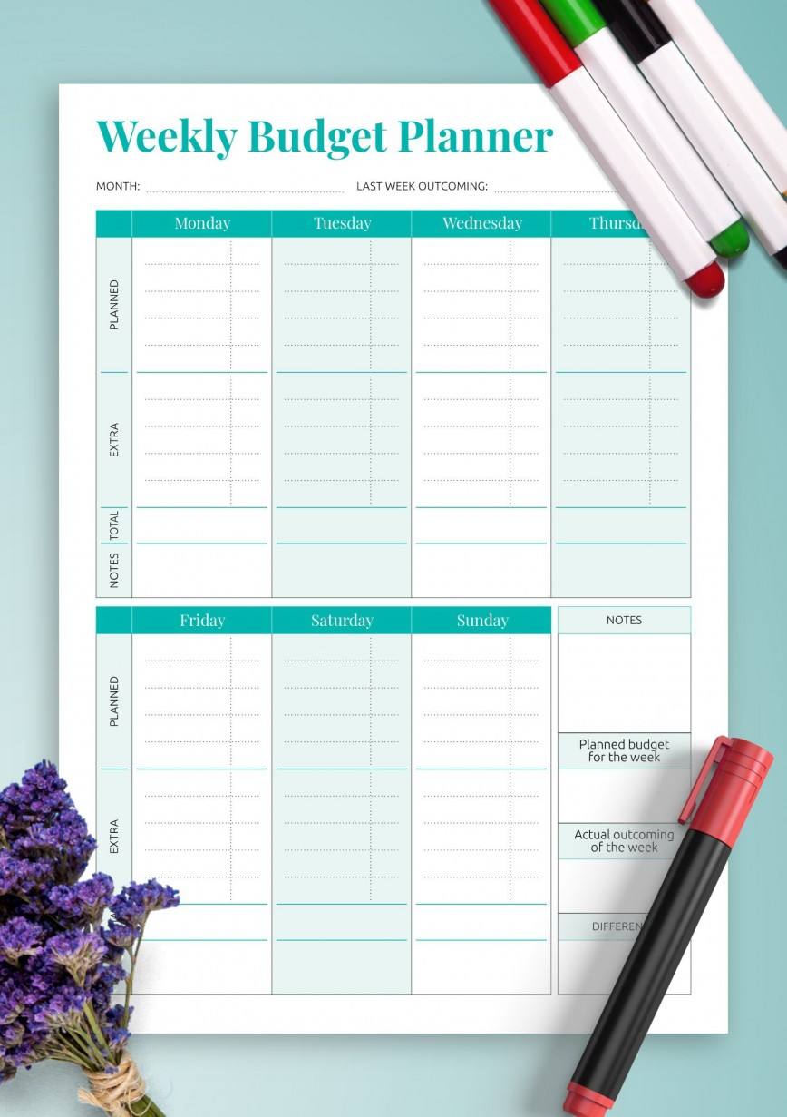 008 Surprising Simple Weekly Budget Template Picture  Planner Personal Printable868