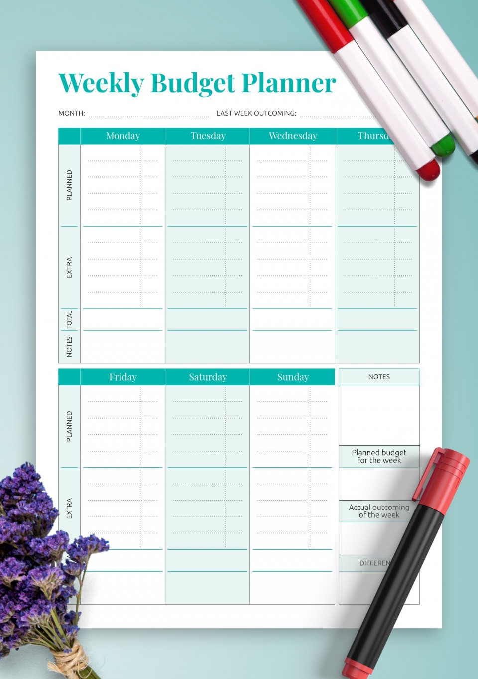 008 Surprising Simple Weekly Budget Template Picture  Planner Personal Printable960