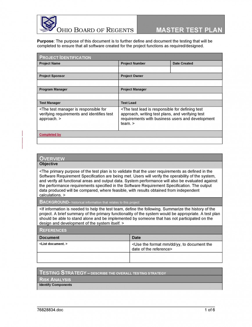 008 Surprising Software Testing Plan Template Design  Test Example Pdf Ieee Doc