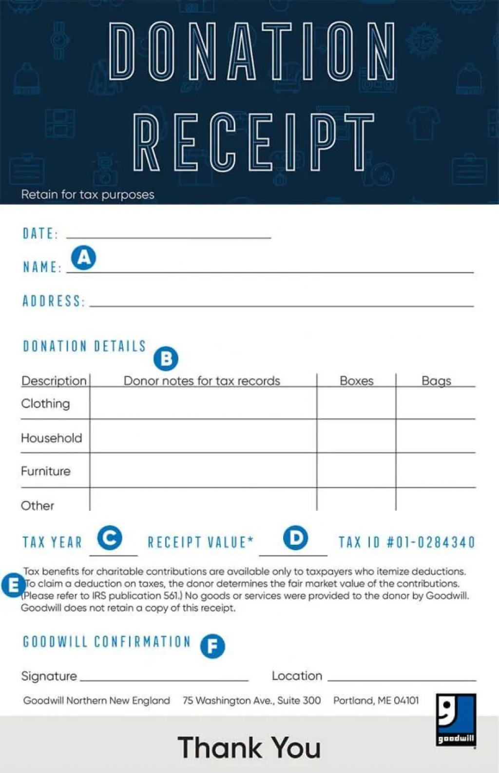 008 Surprising Tax Donation Form Template Design  Ir Charitable Receipt Deductible ExampleLarge
