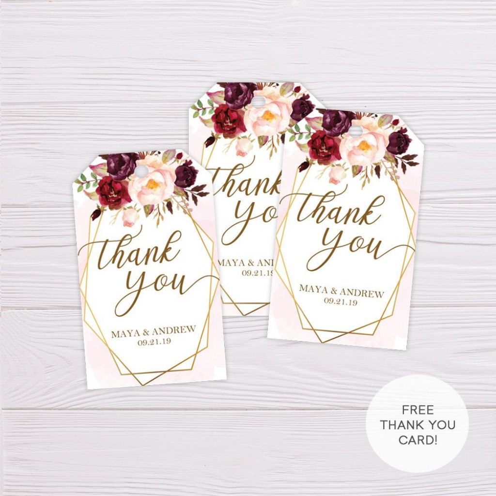 008 Surprising Wedding Favor Tag Template Picture  Templates Editable Free Party PrintableLarge