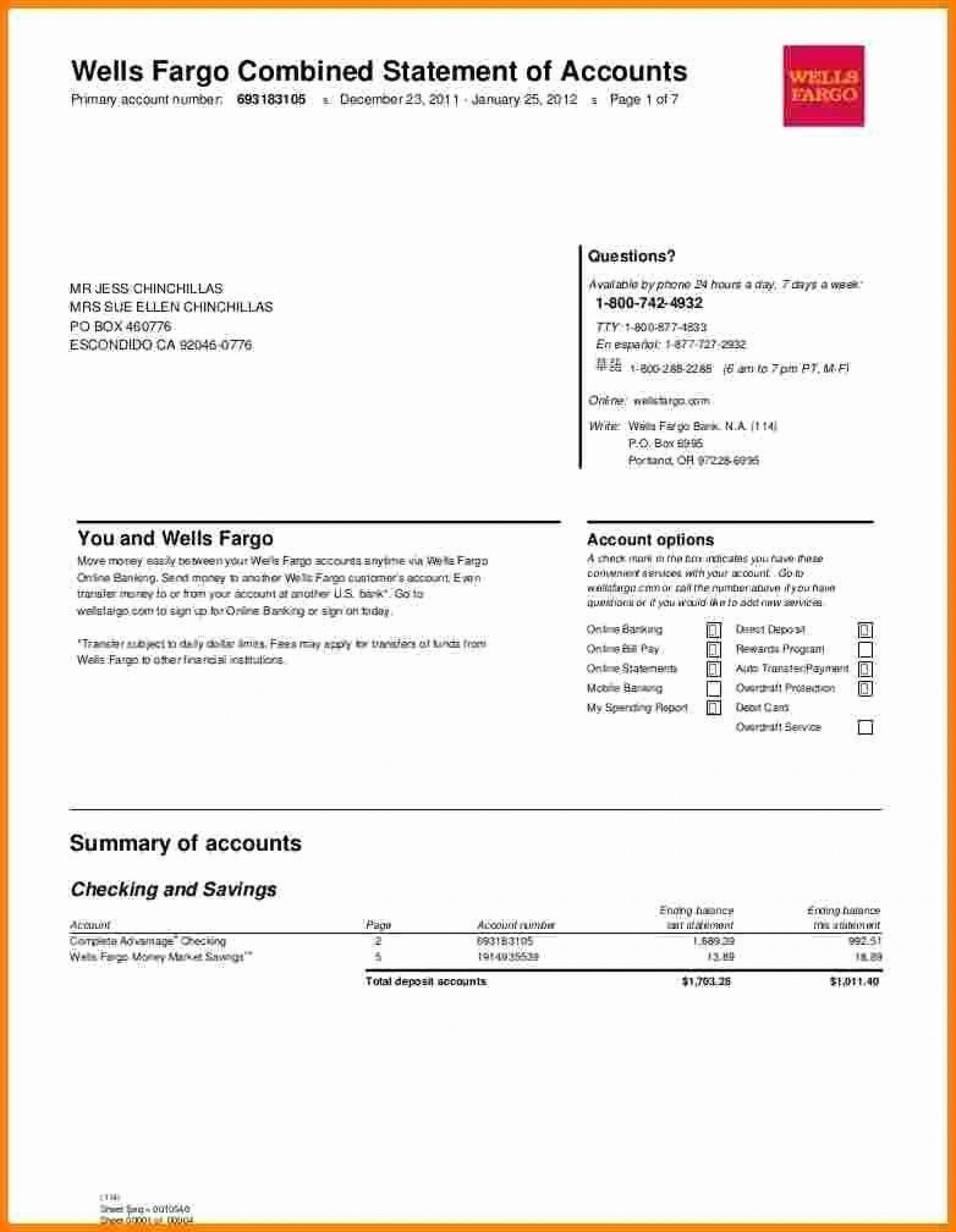 008 Surprising Well Fargo Bank Statement Template High Definition  Fillable Editable1920