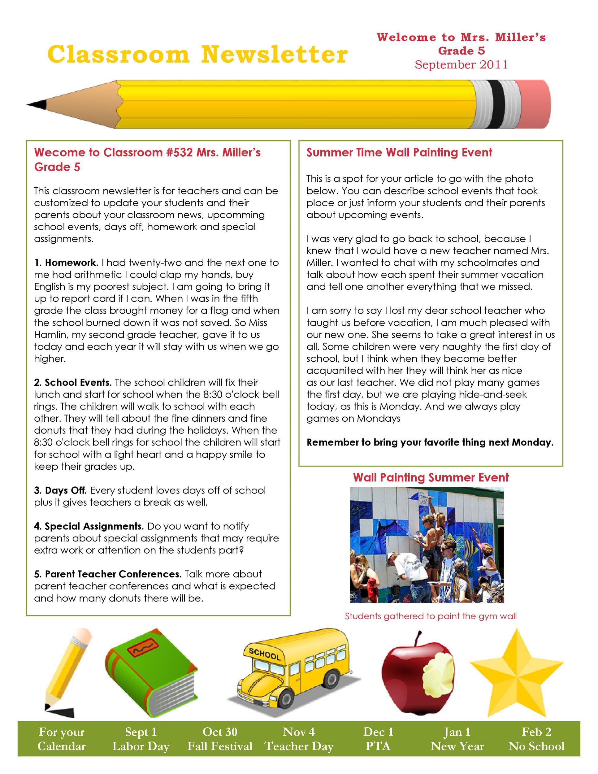 008 Top Elementary School Newsletter Template Concept  Clas Teacher Free CounselorFull